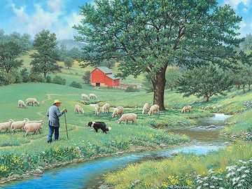 sheep grazing - a shepherd and a dog guarding the sheep by the river