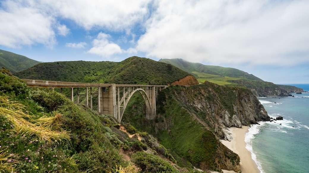 fotografia del ponte marrone - Ponte a Big Sur in California (14×8)