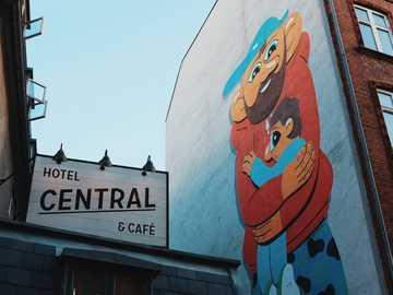 Hotel Central Copenhagen - Hotel Central cafe signage.