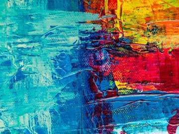 Il mio sito web: artbystevej.com - pittura astratta blu rossa e gialla.