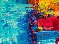 Mijn website: artbystevej.com - blauw rood en geel abstract schilderij.