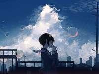 Anime baniki - Ett bildpussel av en liten flicka som gör såpbubblor