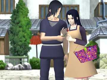 Itachi and his mom - Itachi and his mom in front of their house