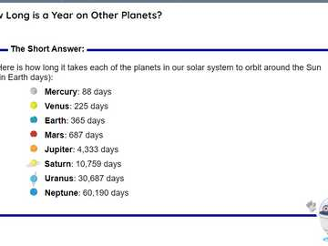 How old are you in the Universe? - A year in different planets
