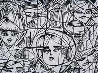 zwart-wit abstracte schilderkunst