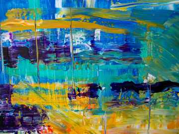 Abstract Painting - blue yellow and red abstract painting.