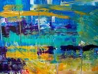 Pintura abstrata - pintura abstrata azul amarela e vermelha.