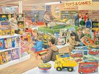 Sklep z zabawkami - Puzzle. Wiejski sklep z zabawkami