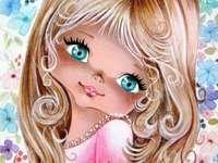 süßes Mädchen - Vintage-Stil Mädchen und Blumen