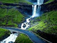 Waterfall in Iceland. - Landscape puzzle.