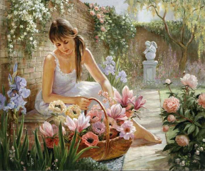 Girl in the garden. - Art. Painting. Jigsaw puzzle.