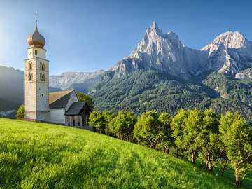 Seis am Schlern view of the Dolomites in South Tyrol - Seis am Schlern view of the Dolomites in South Tyrol