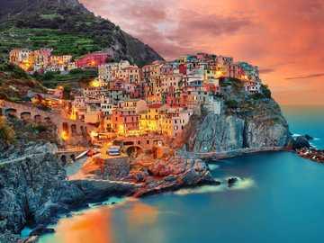 Manarola Riomaggiore by night Liguria Italy - Manarola Riomaggiore by night Liguria Italy