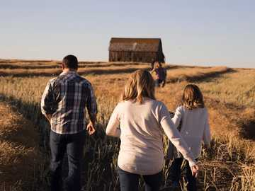 To the old barn - man and women walks on grasses during daytime.