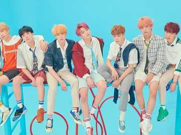 hi armys we are BTS¡¡¡ - RM, JH, JN, JK, JM, V and SG are seated on 7 benches.