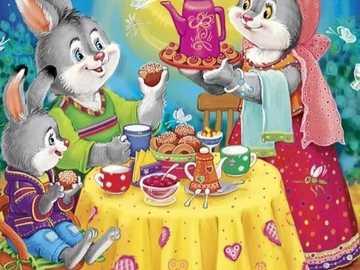 Hasen und Mama Hase - Hasen und Mama Hase zum Frühstück