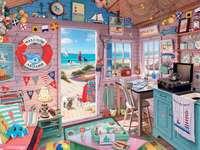 Domek na plaży - Puzzle. Domek na plaży