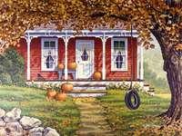 """""""Autunno"""" - Albero di autunno con un'altalena"""