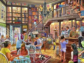 Bookstore - Puzzle. Coffee shop & bookstore