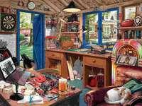 Budka ogrodowa - Puzzle. Biuro w szopie ogrodowej