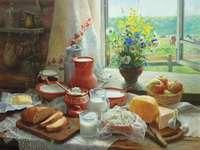 Śniadanie - Puzzle. Malowanie śniadania