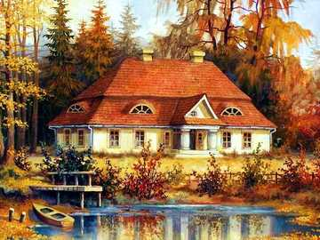 Haus, Landhaus, See, Teich - Haus, Landhaus, See, Teich