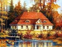 Σπίτι, εξοχική κατοικία, λίμνη, λίμνη