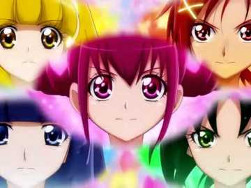 Precure Smile Charge - 第九 部 Smile 光 之 美 少女 , 打開 甜心 變身 粉盒 將 變身 魔法 果實 插入