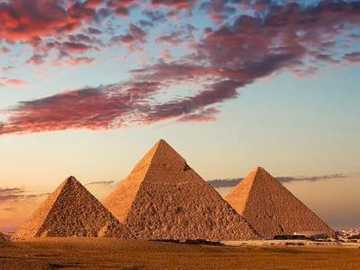 The three pyramids - towering over in desert