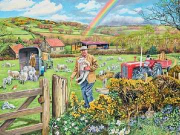 Landschaft mit einem Regenbogen. - Landschaftspuzzle.
