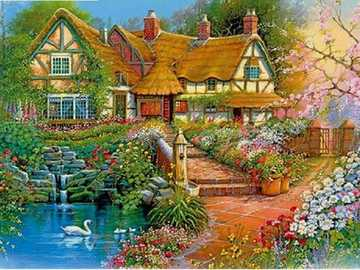 Painted house. - Art. Painting. Puzzle.