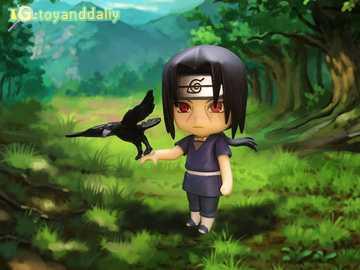 Itachi con su cuervo - Itachi en un bosque con un cuervo