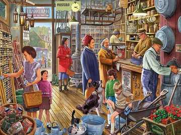 Shopping dans le magasin - Shopping dans un magasin, illustration vintage