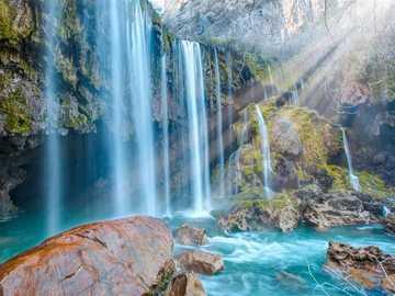 Waterfall - A very beautiful waterfall in the sun