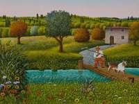 Le pont, peinture naïve - Cesare Marchesini, peinture naïve