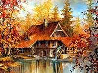 stary drewniany młyn nad wodą jesienią - stary drewniany młyn nad wodą jesienią