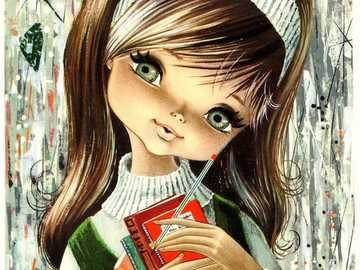 scrivere i sogni - ragazza in stile vintage con il suo diario