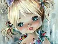 Kindheit mit Blumen - kleines Mädchen mit schönen Blumen
