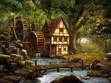 Um moinho de água por um pequeno riacho - Um moinho de água por um pequeno riacho