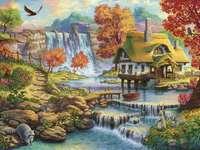 Dom na wodzie nad wielkim  wodospadem - Dom na wodzie nad wielkim wodospadem