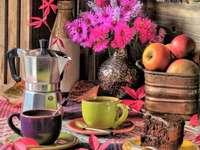 Кафе и торта в есенния състав пъзел