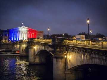 Paris at night - bridge over the Seine in Paris