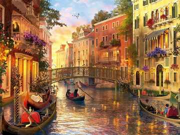 Painting Venice canals bridge and boats - Painting Venice canals bridge and boats