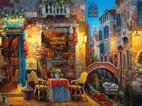 Malba benátských kanálů most a čluny