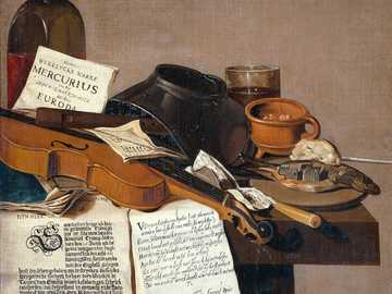 brown and black wooden guitar and black leather bag - Title: Still Life with a Copy of De Waere Mercurius, a Broadsheet with the News of Tromp's Vict