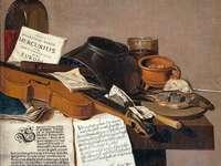 bruine en zwarte houten gitaar en zwart lederen tas - Titel: Stilleven met een kopie van De Waere Mercurius, een Broadsheet met het nieuws van Tromp'