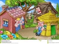 De tre små grisarna - De tre små grisarna. Klassisk berättelse bild.