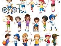 sport- - leg de stukjes op de juiste plaats
