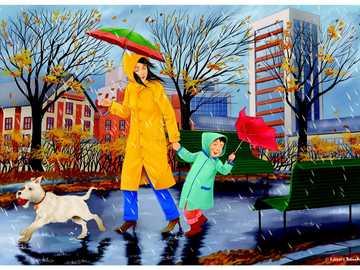 Podzimní déšť v městech - Hádanka zdůrazňuje deštivý podzimní den