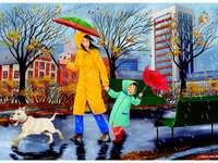 Jesienny deszcz w mieście